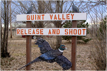 Sign for Quint Valley Release and Shoot, pheasant hunting in Colorado